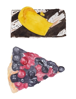 Watercolor set banana cake berry pie with blueberries and cherries top view