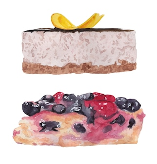 Watercolor set banana cake berry pie with blueberry and cherry side view