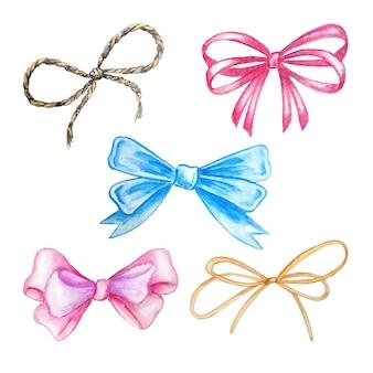 Watercolor set of bows holiday ribbon illustration, festive bunting clip art, birthday