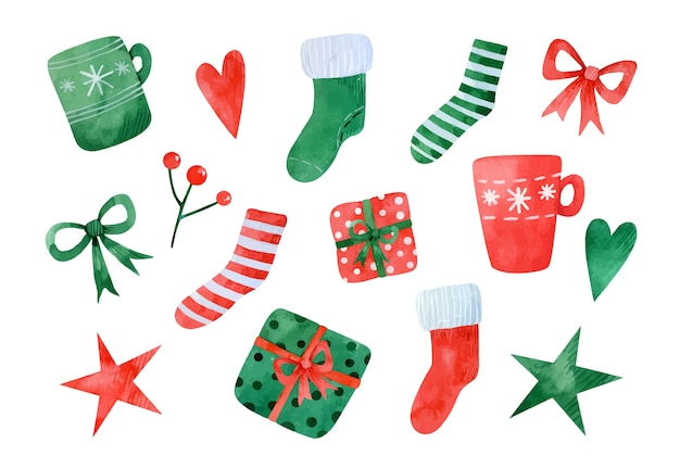 Watercolor set of christmas elements. red and green christmas socks, mugs, gifts, bows, hearts, stars and a sprig of rowan