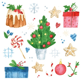 Watercolor set for christmas new year collection with cute drawings of gifts snowflakes