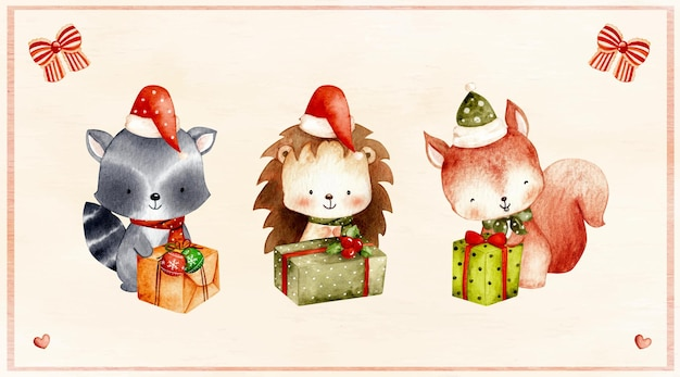 Watercolor set of christmas woodland animal with gift