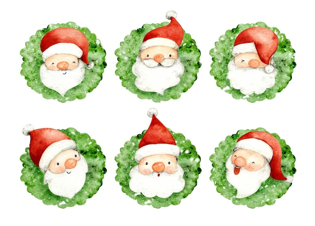 Watercolor set of christmas wreath with santa claus