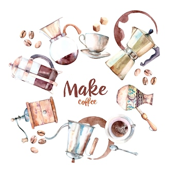 Watercolor set of coffee makers and machines