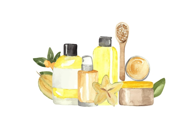 Watercolor set of cosmetics for skin and hair care