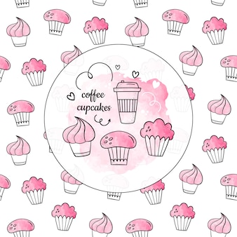 Watercolor set of cupcakes. vector seamless pattern + set of isolates.