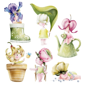 Watercolor set of cute cartoon baby flowers characters