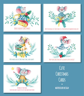 Watercolor set of cute christmas cards with mouse characters