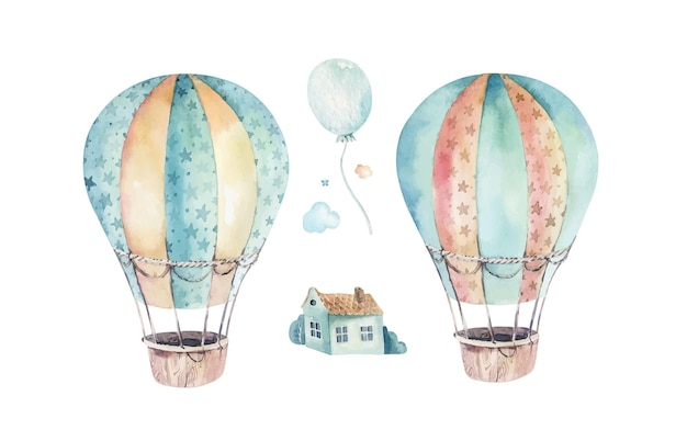 Watercolor set of a cute and fancy sky scene complete with hot air balloons clouds trees houses
