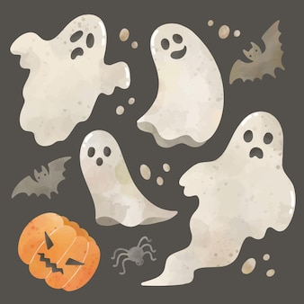 Watercolor set of cute halloween ghosts
