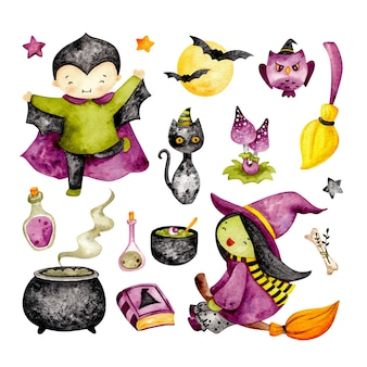 Watercolor set of cute halloween stuff
