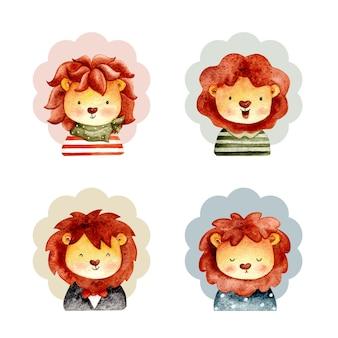 Watercolor set of cute lion face
