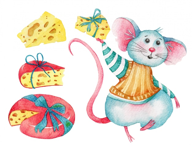 Watercolor set of cute mouse and cheeses