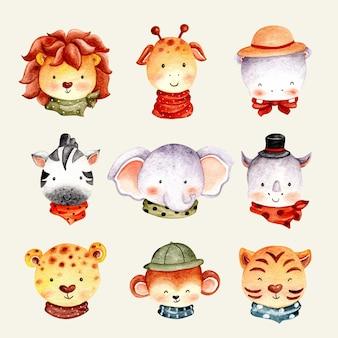Watercolor set of cute safari animal face