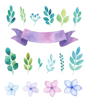 Watercolor set of elements, flowers and twigs, purple ribbon banner