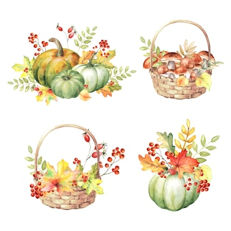 Watercolor set of fall compositions with pumpkins, autumn leaves, mushrooms, berries