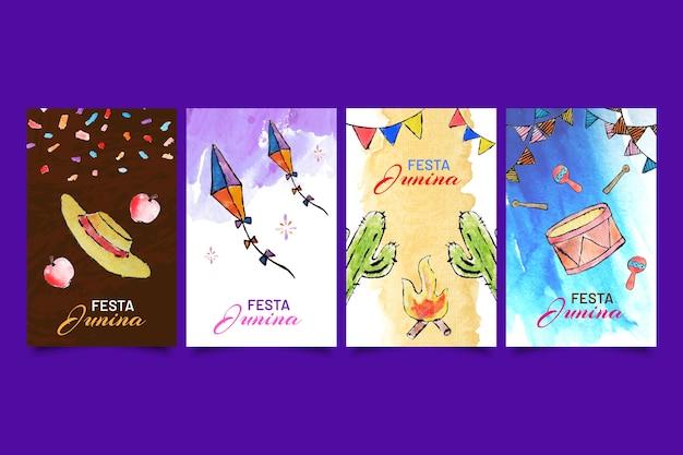 Watercolor set of festa junina cards Free Vector
