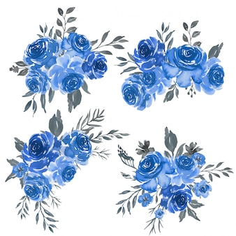 Watercolor set of floral blue frame arrangement