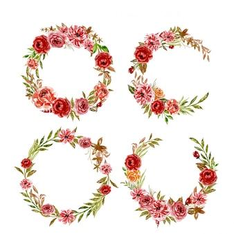 Watercolor set of floral red orange wreath frame arrangement