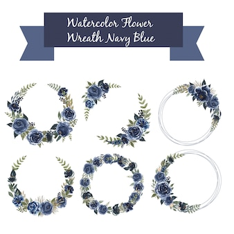 Watercolor set of floral wreath navy blue