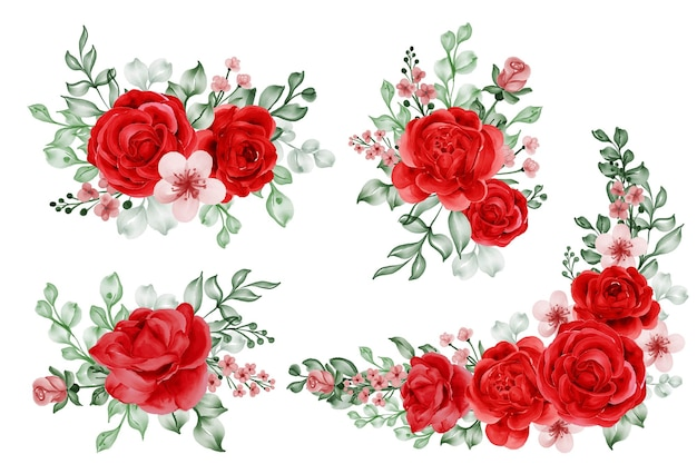 Watercolor set of flower arrangement freedom rose red and leaves