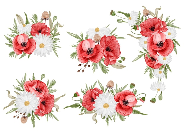 Watercolor set of flower arrangement with red poppy flower
