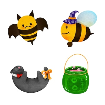 Watercolor set for hand-drawn bee of for halloween .illustration vector.