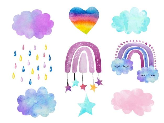 수채화 세트 손은 구름과 속눈썹으로 귀여운 무지개를 그렸습니다. 다양한 색상, 빗방울, 별의 구름. 로고, 아동복, 프린트 개발
