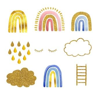 수채화 세트는 금, 황금 구름, 속눈썹, 계단으로 귀여운 무지개를 손으로 그렸습니다. 그림은 흰색 배경에 격리됩니다. 로고, 아동용 섬유, 지문 개발.