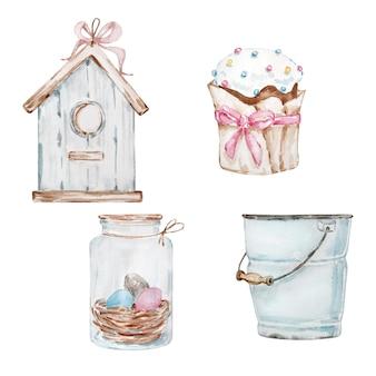 Акварельный набор расписанный вручную кулич, стеклянная банка с яйцами, скворечник и ведро.