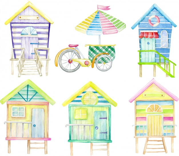 Watercolor set, on an isolated background. beach houses and ice cream cart.