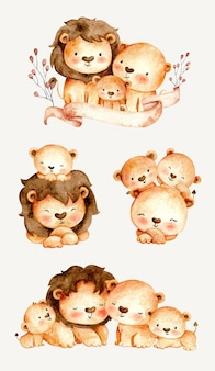 Watercolor set of lion family