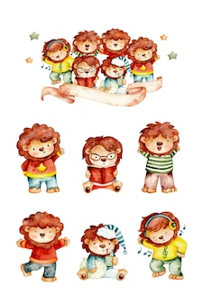 Watercolor set of lion and friends