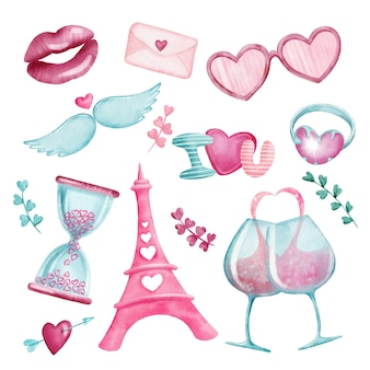 Watercolor set of love valentine stickers