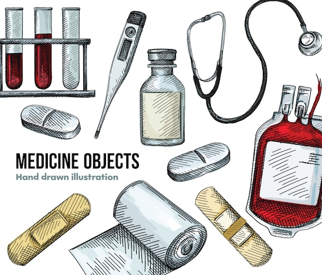 Watercolor set of medical patch, plaster, glass bottle, syringe with injection, digital thermometer, blood transfusion bag, medical tube with liquid, stethoscope, two long pills, bandage roll