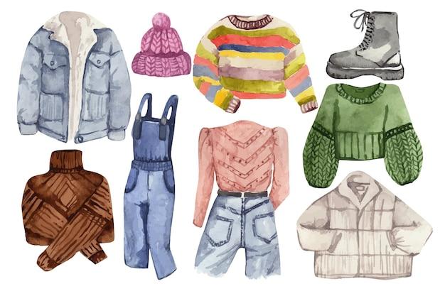 가을 여성 의류의 수채화 세트 세련된 따뜻한 옷의 일러스트