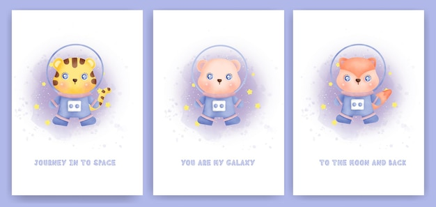은하계에서 귀여운 동물들과 함께 베이비 샤워 인사말 카드의 수채화 세트.