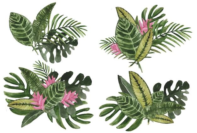 熱帯の葉と花の花束の水彩セット