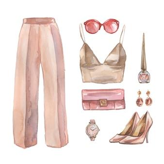 ビジネスカジュアルな服、靴、woamnのバッグの水彩セット。企業衣装のイラスト。オフィススタイルの外観の手描きの絵。トレンディなウェアコレクション