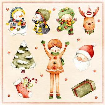 クリスマス要素の水彩セット
