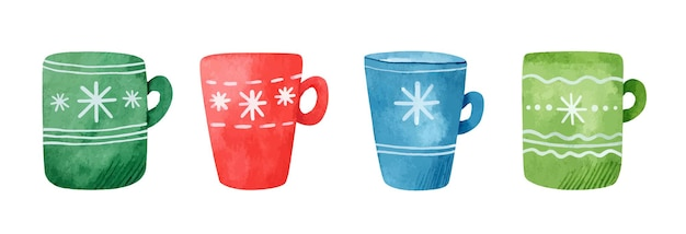 さまざまなかわいいデザインのクリスマスマグの水彩セット