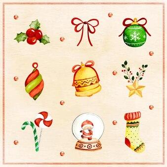 クリスマスの飾りの水彩セット