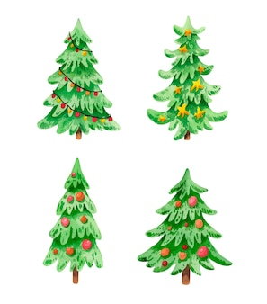 白で隔離の装飾とクリスマスツリーの水彩セット