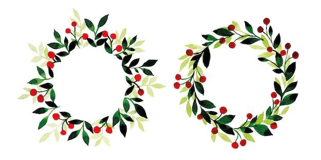 녹색 잎과 붉은 열매의 크리스마스 화환의 수채화 세트