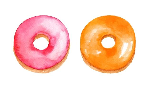 色付きの艶をかけられたドーナツの水彩画セット。フルーツをトッピングしたピンクとオレンジの甘いパン