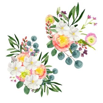 Акварельный набор букетов ярких цветов на белом фоне
