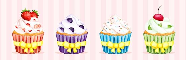 カップケーキの水彩セット
