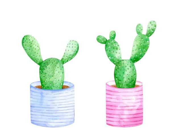Акварельный набор милых кактусов в декорированных полосатых горшках