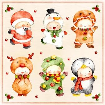 かわいいクリスマスキャラクターコスチュームの水彩セット