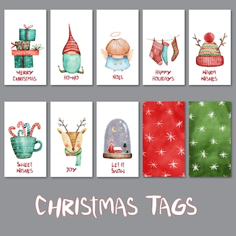 Watercolor set of cute christmas tags